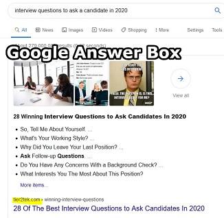 Web Design For Google Answer box